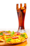 Pizza and glass of Coca Cola Royalty Free Stock Images