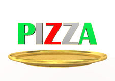 Pizza Golden Plate Stock Photo