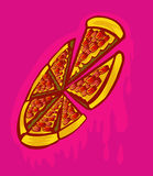 Pizza graffiti. Delicious Pizza pink and red graffiti Stock Photos