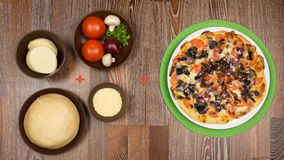 Pizza on the green napkin and the ingredients of which it is mad. E: yeast dough, cheese, mozzarella, tomatoes, greens, mushrooms red onion on a dark wooden Royalty Free Stock Photos