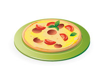 Pizza on the green plate. Isolated on white background - vector illustration royalty free illustration