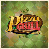 Pizza and grill menu card design. Pizza and grill menu card design, retro style. Eps10 Stock Photo
