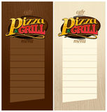 Pizza and grill menus. Royalty Free Stock Images
