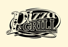 Pizza and grill symbol. Royalty Free Stock Photos
