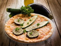 Pizza with grilled zucchinis Royalty Free Stock Photography