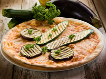 Pizza with grilled zucchinis Royalty Free Stock Image