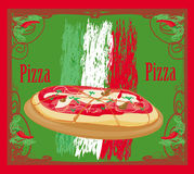 Pizza grunge card Stock Images