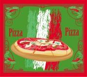 Pizza grunge kaart Stock Afbeeldingen