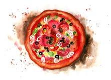 Pizza grunge savoureuse d'aquarelle Images libres de droits