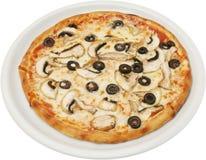 Pizza grzyby z pomidorami serowymi i pieczarkami Zdjęcie Royalty Free