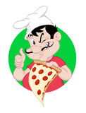 Pizza Guy Holding a Slice Royalty Free Stock Photos