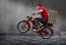 Pizza Guy. Is in a hurry Stock Photos
