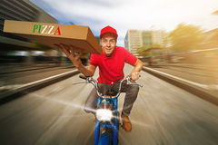 Pizza Guy. At the surrender Royalty Free Stock Photo