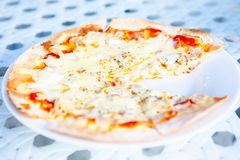 Pizza Had Eaten One Slice. At home stock photography