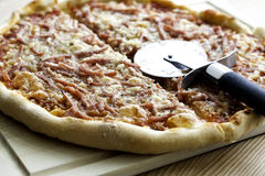 Pizza with Ham Stock Image