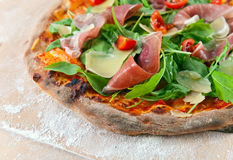 Pizza with ham and cheese Royalty Free Stock Photos