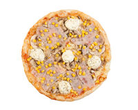 Pizza with ham, cheese, mayonnaise, mushrooms and corn Stock Photos