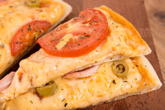Pizza with ham and cheese Royalty Free Stock Image