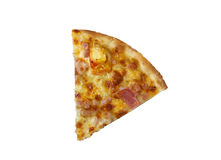 Pizza with ham and cheese on wood background Stock Photos