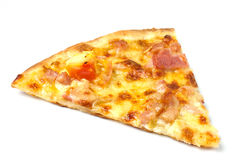 Pizza with ham and cheese on wood background Stock Photo