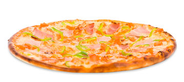 Pizza with ham and green paprika Stock Images