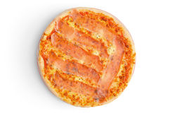 Pizza with ham and melted cheese isolated on white Royalty Free Stock Photography