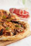 Pizza ham and mushroom on wooden board Stock Photos