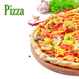 Pizza with ham and mushrooms Royalty Free Stock Photo