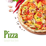 Pizza with ham and mushrooms Royalty Free Stock Photos