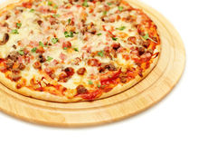 Pizza. Ham, Mushrooms and Cheese Royalty Free Stock Images