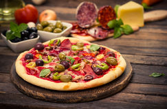 Pizza with ham, mushrooms and cheese Stock Photography