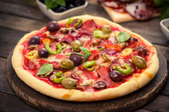 Pizza with ham, mushrooms and cheese Royalty Free Stock Image