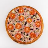 Pizza ham, mushrooms, tomatoes on a white background. Top view stock photos