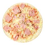 Pizza with ham and mushrooms on a white isolated background. Close-up. Top view stock photo