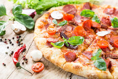 Pizza with ham Royalty Free Stock Images