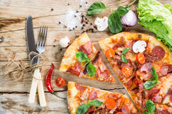 Pizza with ham Stock Photography