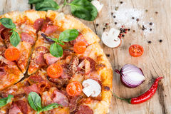 Pizza with ham Royalty Free Stock Photo