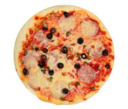 Pizza with ham and olives Stock Photography
