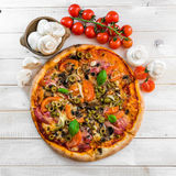 Pizza with ham and olives Stock Photos