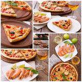 Pizza with ham, pepper and olives. Pizza with seafood on wood table top view horizontal. Set Stock Photography