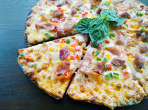 Pizza with ham, pepper Royalty Free Stock Photos