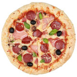 Pizza with ham, pepperoni and mushrooms Stock Images