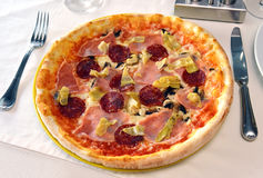 Pizza with ham and salam Royalty Free Stock Photography