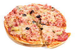 Pizza with ham and salami Stock Image