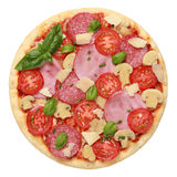 Pizza with ham and salami Stock Photo