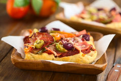 Pizza with Ham, Salami, Olive and Pepper Stock Photo