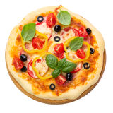 Pizza with ham, tomato and olives isolated on white Royalty Free Stock Image
