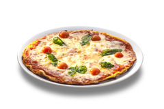 Pizza with ham, tomatoes and cheese Stock Image