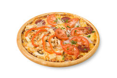 Pizza with ham, tomatoes, mushrooms and tomatoes Royalty Free Stock Photography