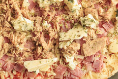 Pizza of ham, tuna and roquefort cheese Royalty Free Stock Images